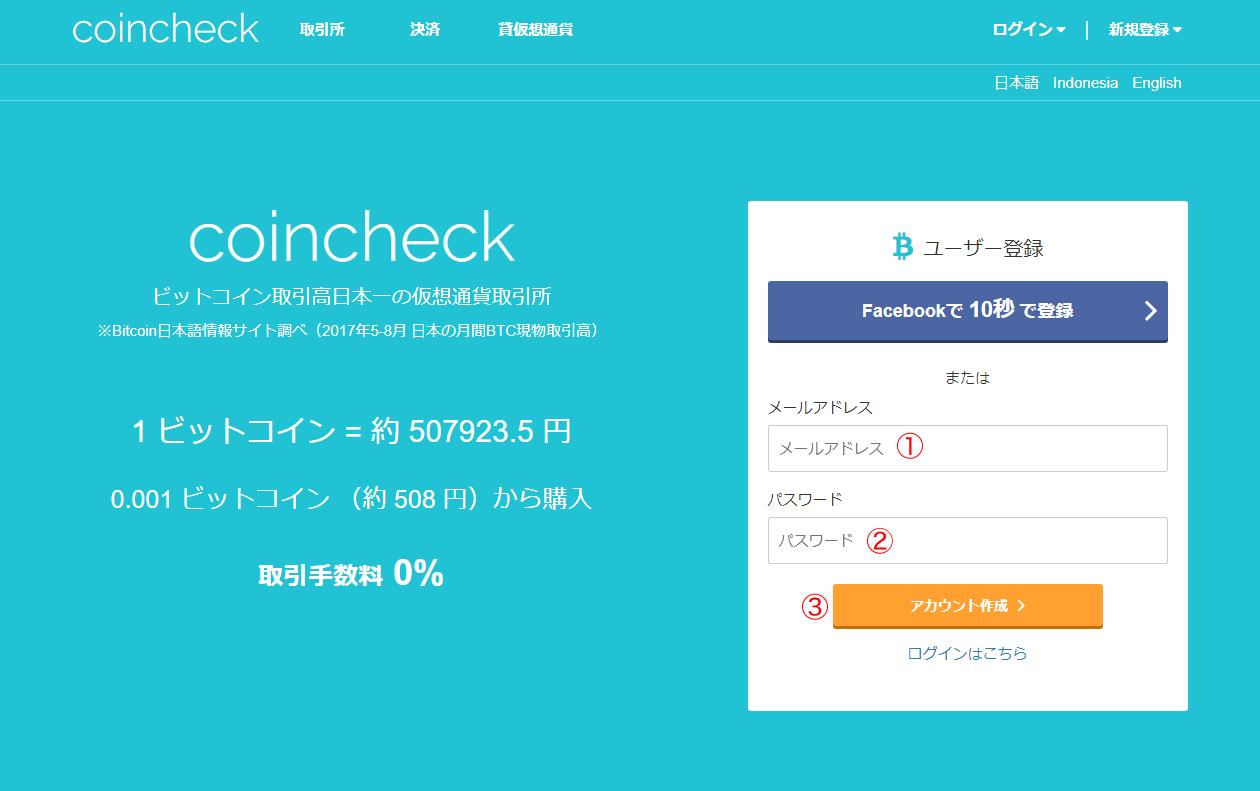 コインチェック新規登録画面画像